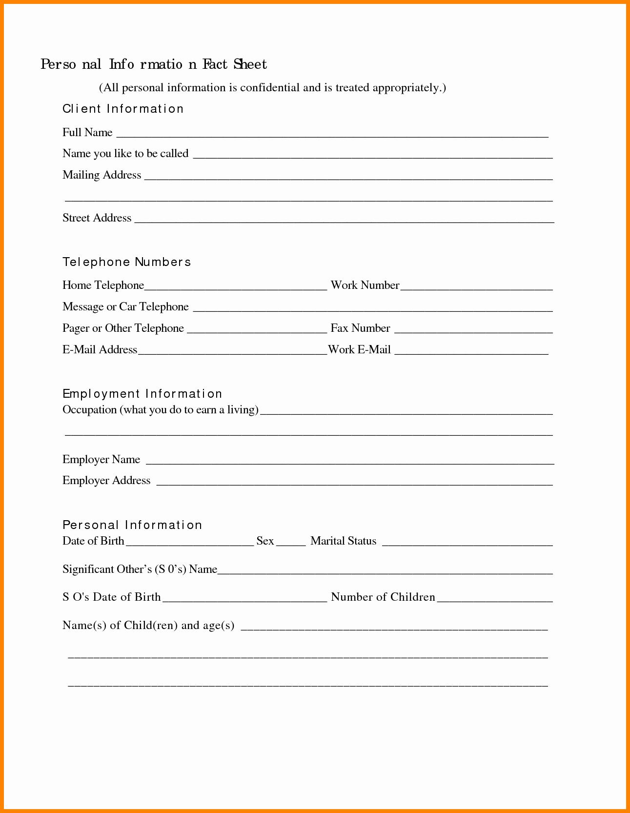 Personal Information Sheet Template Elegant Information Template Portablegasgrillweber