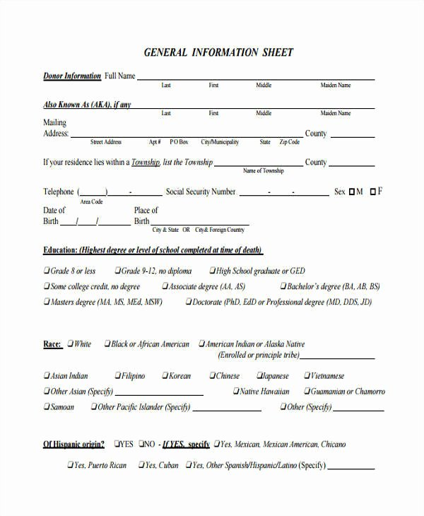 Personal Information Sheet Template Fresh 46 Information Sheet Samples