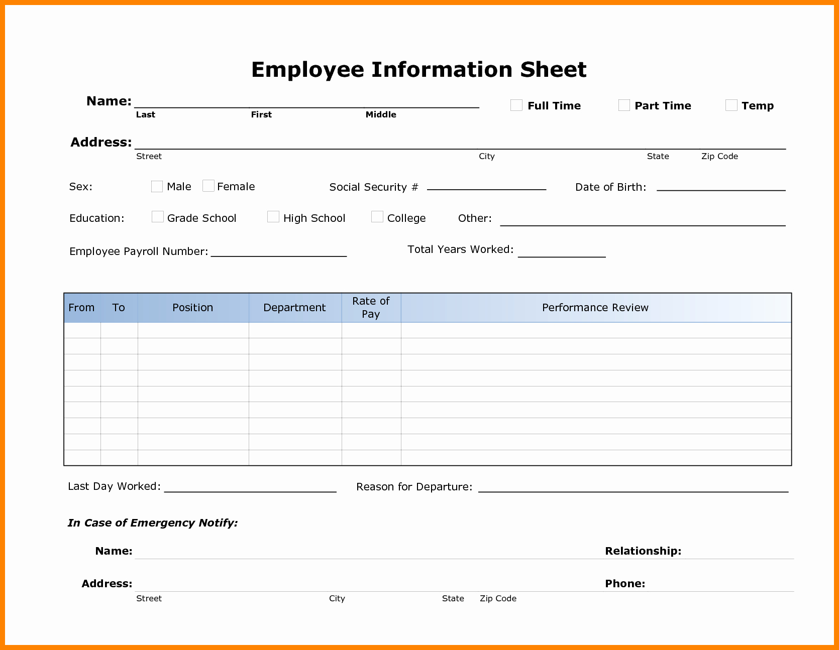 Personal Information Sheet Template Luxury 8 Employee Payroll forms Template