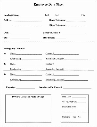 Personal Information Sheet Template Unique 188 Best Business forms Images On Pinterest