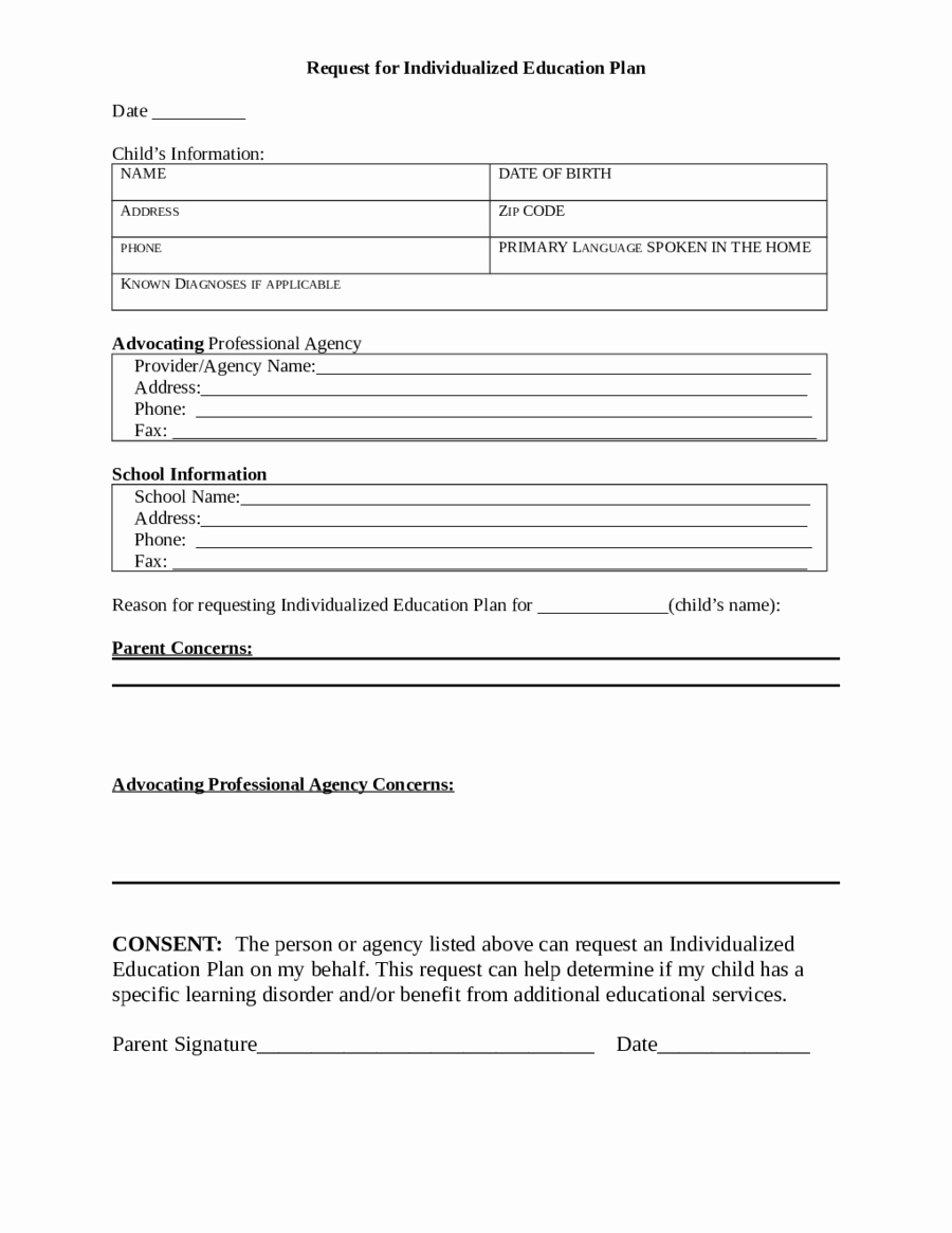 Personal Learning Plan Template Beautiful 2018 Individual Education Plan Fillable Printable Pdf