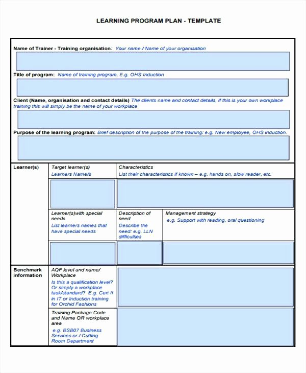 Personal Learning Plan Template Elegant Learning Program Plan Details File format Individual