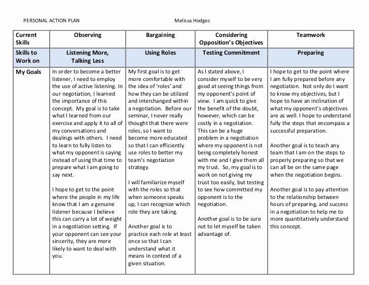 Personal Learning Plan Template Fresh Model Personal Action Plan