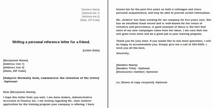 Personal Letter Template Word Beautiful Free Personal Character Reference Letter Templates Doc