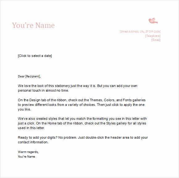 Personal Letter Template Word Elegant 10 Sample Personal Letterhead Templates to Download