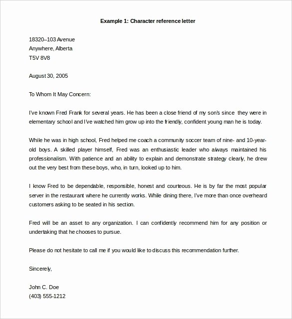 Personal Letter Template Word Fresh Letter Re Mendation Template Word Redstavernfo