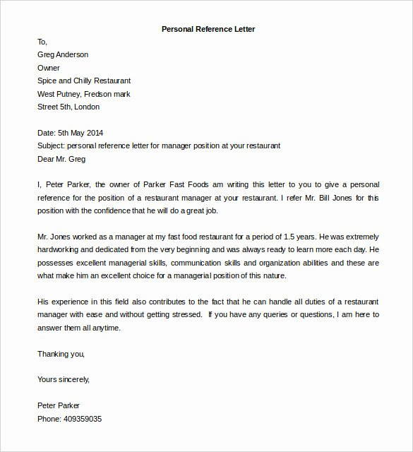 Personal Letter Template Word Inspirational Free Reference Letter Templates 24 Free Word Pdf