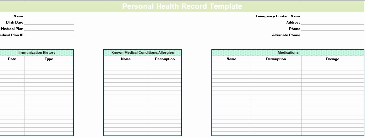 Personal Medical History Template Awesome Blank Personal Health Record Template Excel Excel Tmp