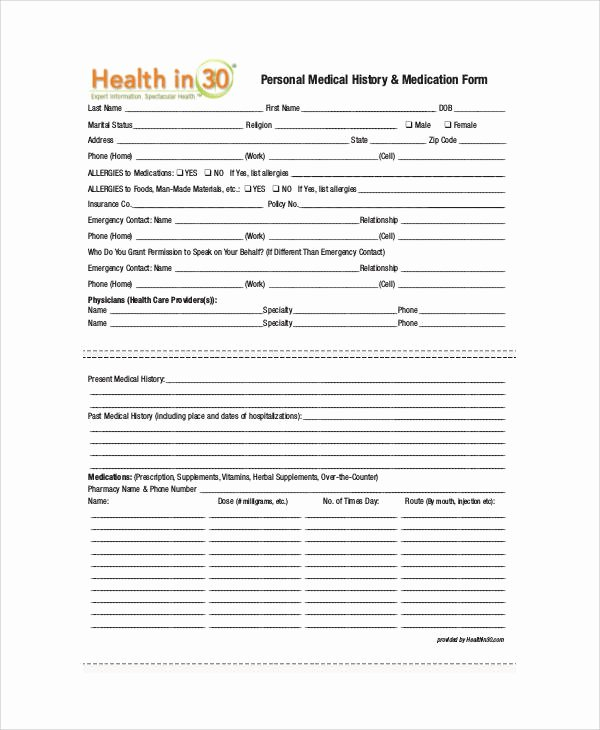Personal Medical History Template Beautiful 50 Sample Medical forms