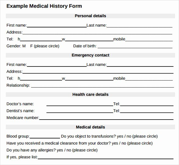 Personal Medical History Template Beautiful Medical History form 10 Download Free Documents In Pdf Word