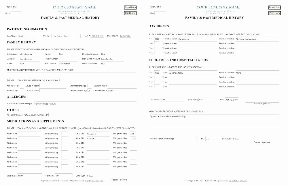 Personal Medical History Template Beautiful Personal Medical Records Template Release form Health