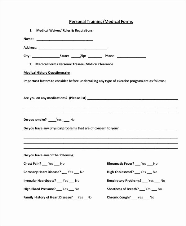 Personal Medical History Template Best Of 9 Sample Medical forms – Pdf Doc