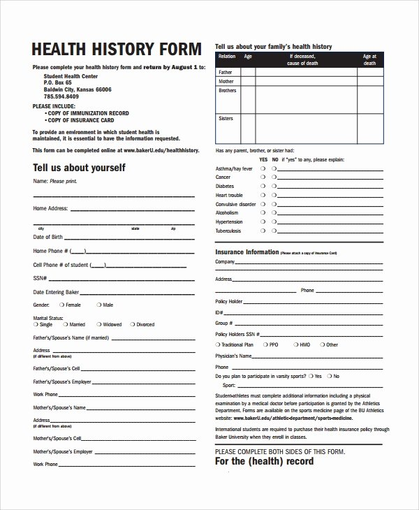 Personal Medical History Template Fresh 10 Health History Templates