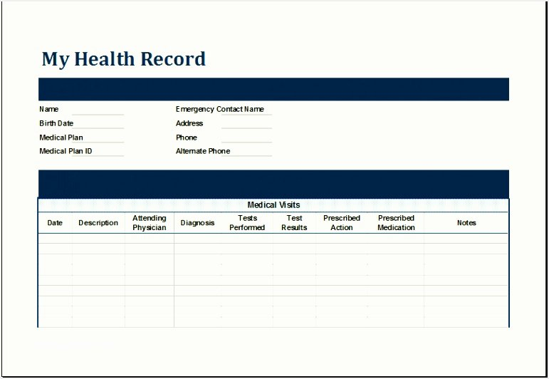 Personal Medical Record Template Awesome 5 Microsoft Excel form Templates Besttemplatess123