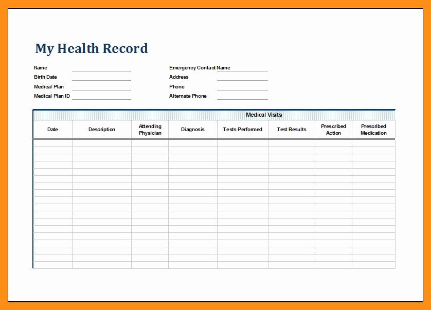 Personal Medical Record Template Best Of 12 13 Personal Health Records Template