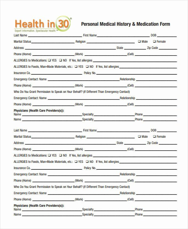 Personal Medical Record Template Elegant Medical History form 9 Free Pdf Documents Download
