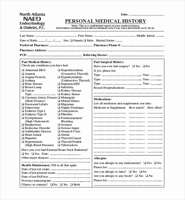 Personal Medical Record Template Inspirational 21 Sample Medical History forms