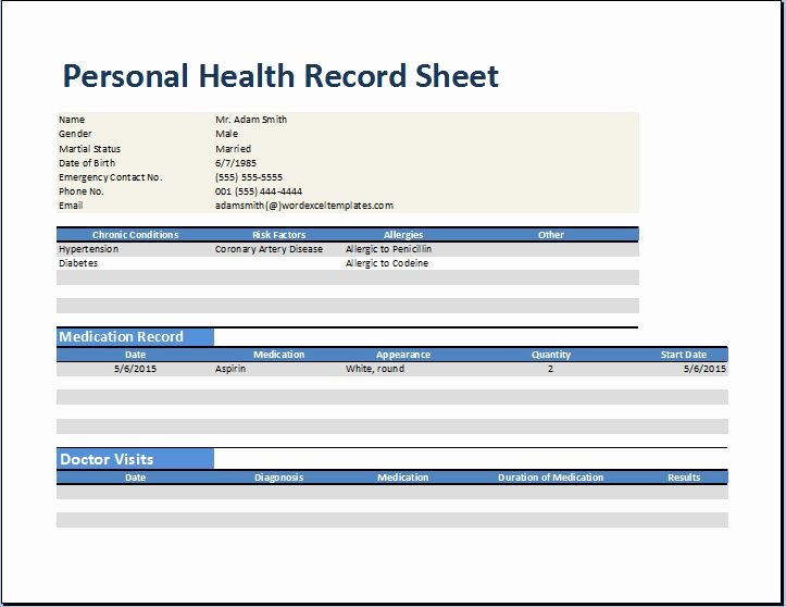 Personal Medical Record Template Inspirational Personal Medical Health Record Worksheet Template