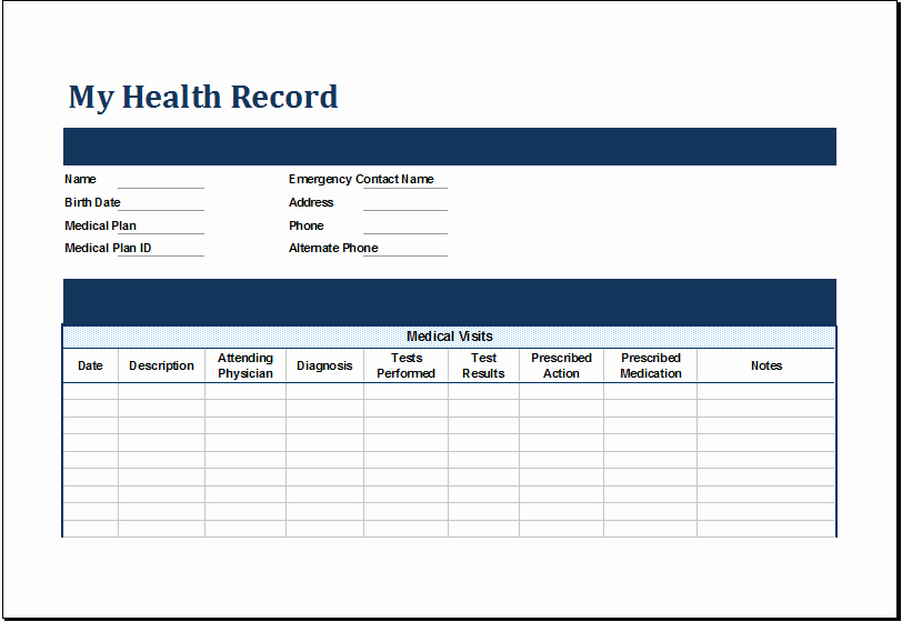 Personal Medical Record Template New Ms Excel Personal Medical Health Record Template