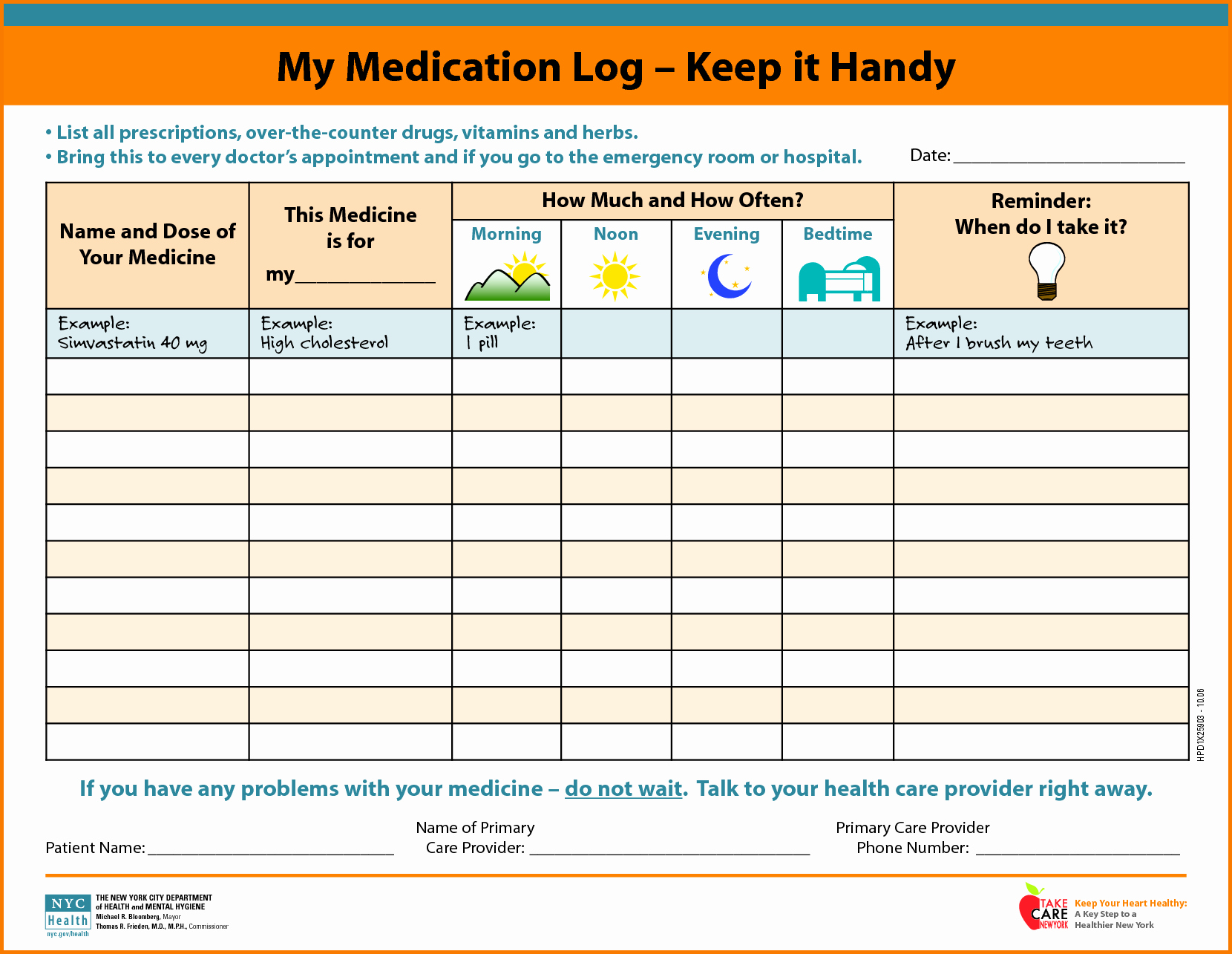 Personal Medication List Template Beautiful Medication Template