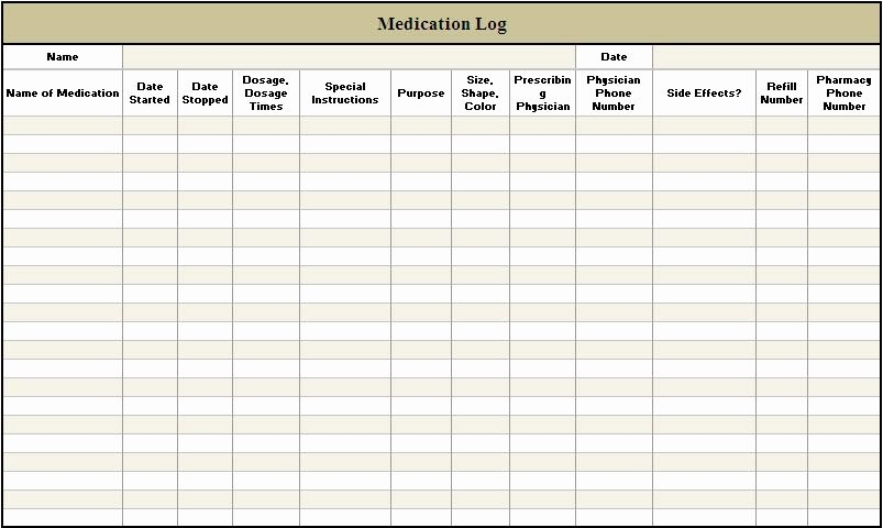 Personal Medication List Template Elegant Daily Medication Log Template