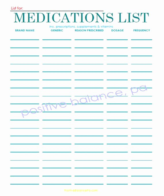 Personal Medication List Template Elegant Items Similar to Printable Medication List On Etsy