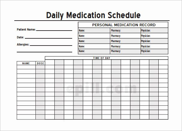 Personal Medication List Template Lovely 8 Medical Schedule Template Doc Pdf