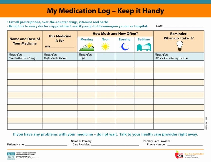 Personal Medication List Template Luxury Medicine Picture Schedule