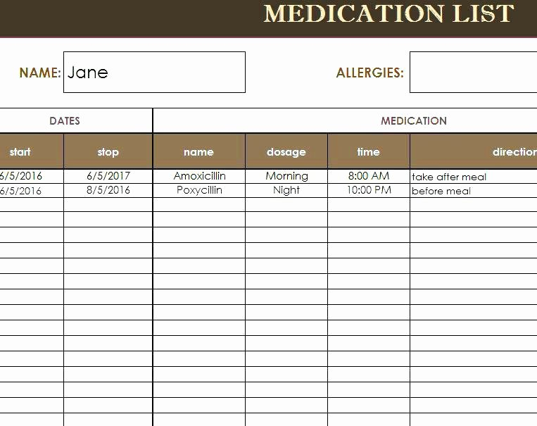 Personal Medication List Template Luxury Service Hours Log Sheet Printable Munity Chart