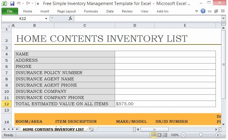 Personal Property Inventory Template Awesome Free Simple Inventory Management Template for Excel