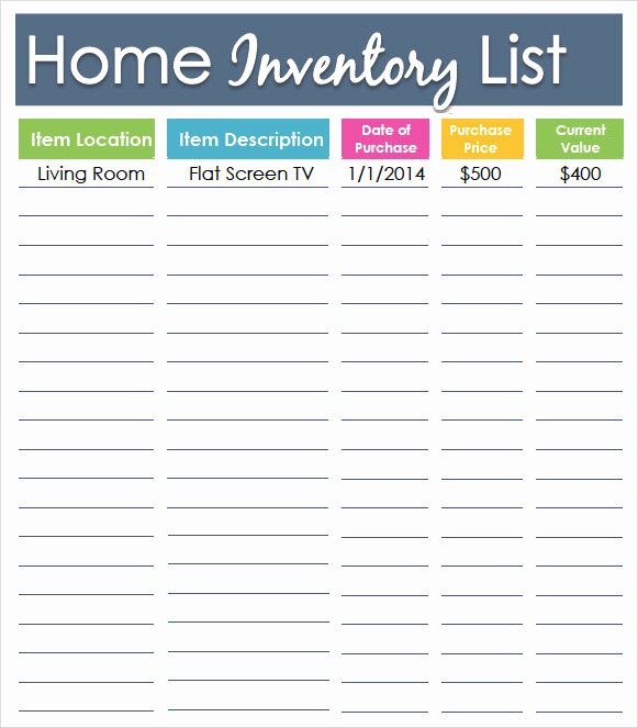 Personal Property Inventory Template Fresh Sample Inventory List Template 9 Free Documents