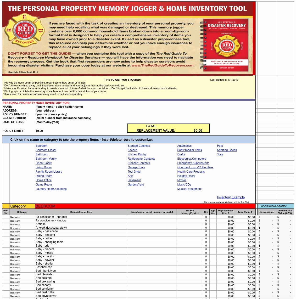Personal Property Inventory Template Lovely Personal Property Inventory Template Memory Jogger
