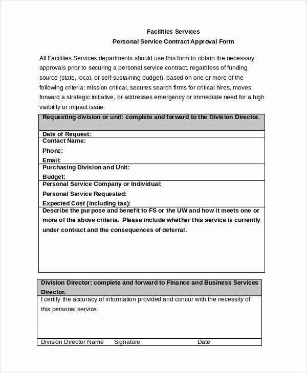 Personal Service Contract Template Best Of Service Contract Approval form 8 Free Documents In Pdf Doc