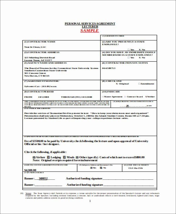 Personal Service Contract Template Inspirational 42 Agreement forms In Doc