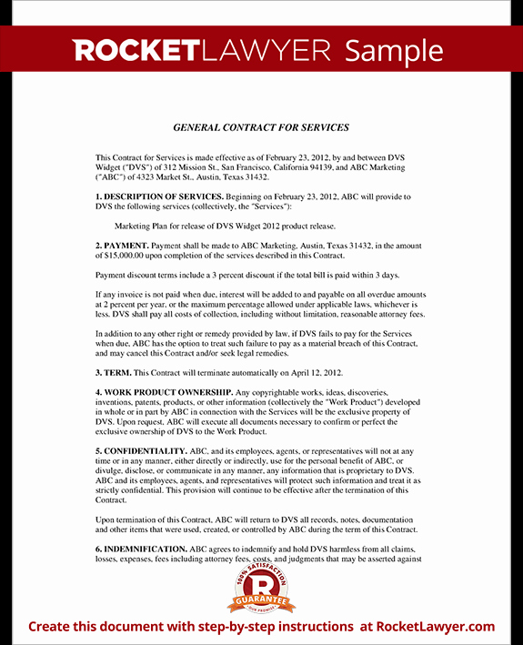 Personal Service Contract Template New General Contract for Services form Template with Sample