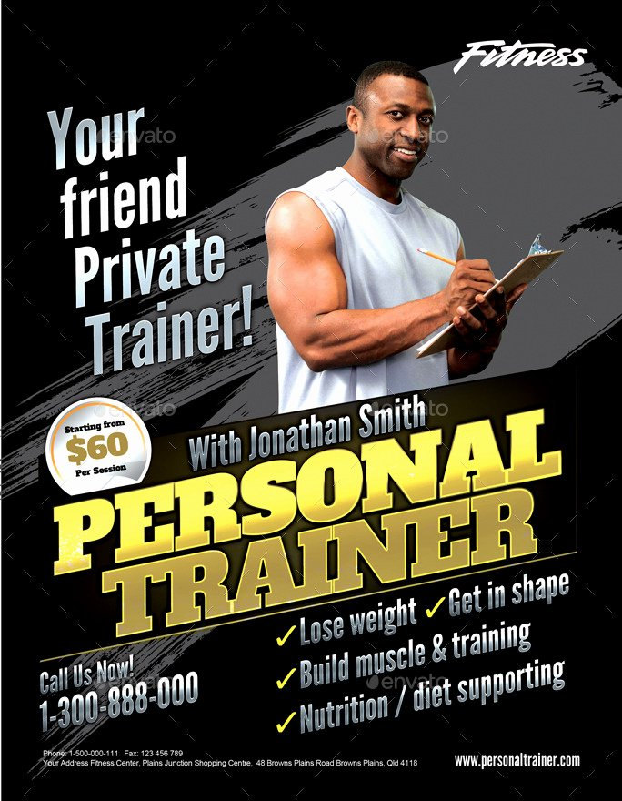 Personal Trainer Flyer Template Best Of Personal Trainer Flyer by Inddesigner