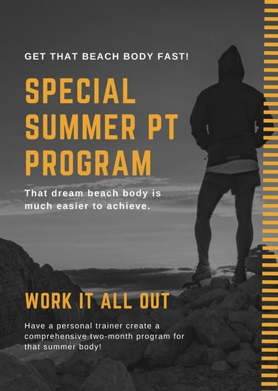 MACU3ivDmkU black and orange line personal trainer flyer