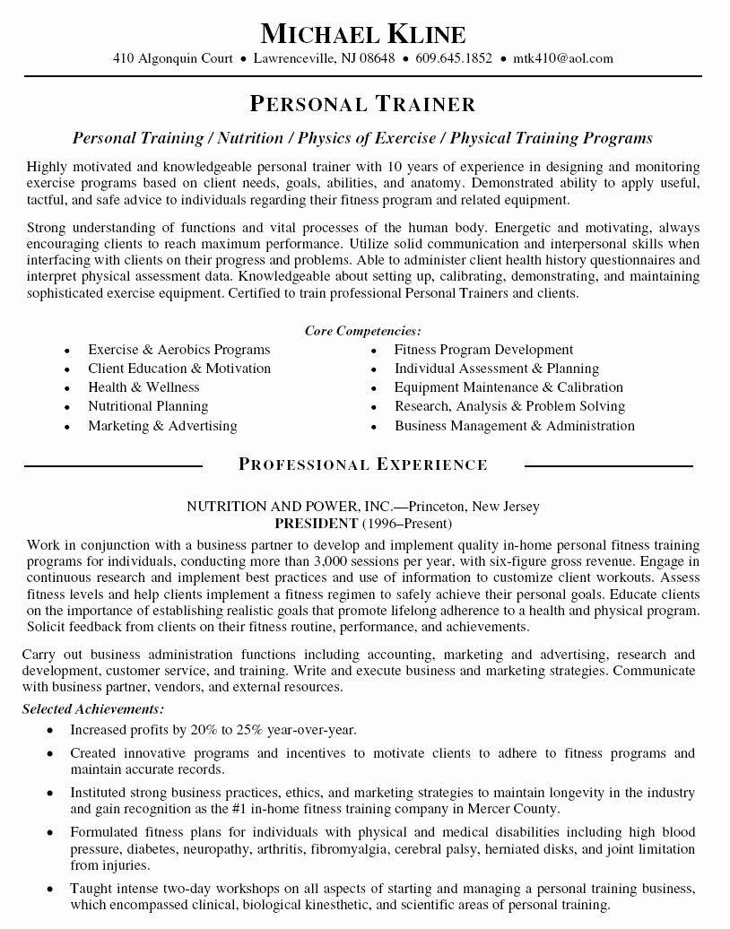 Personal Trainer Resume Template Elegant Personal Trainer Resume Objective Personal Trainer Resume