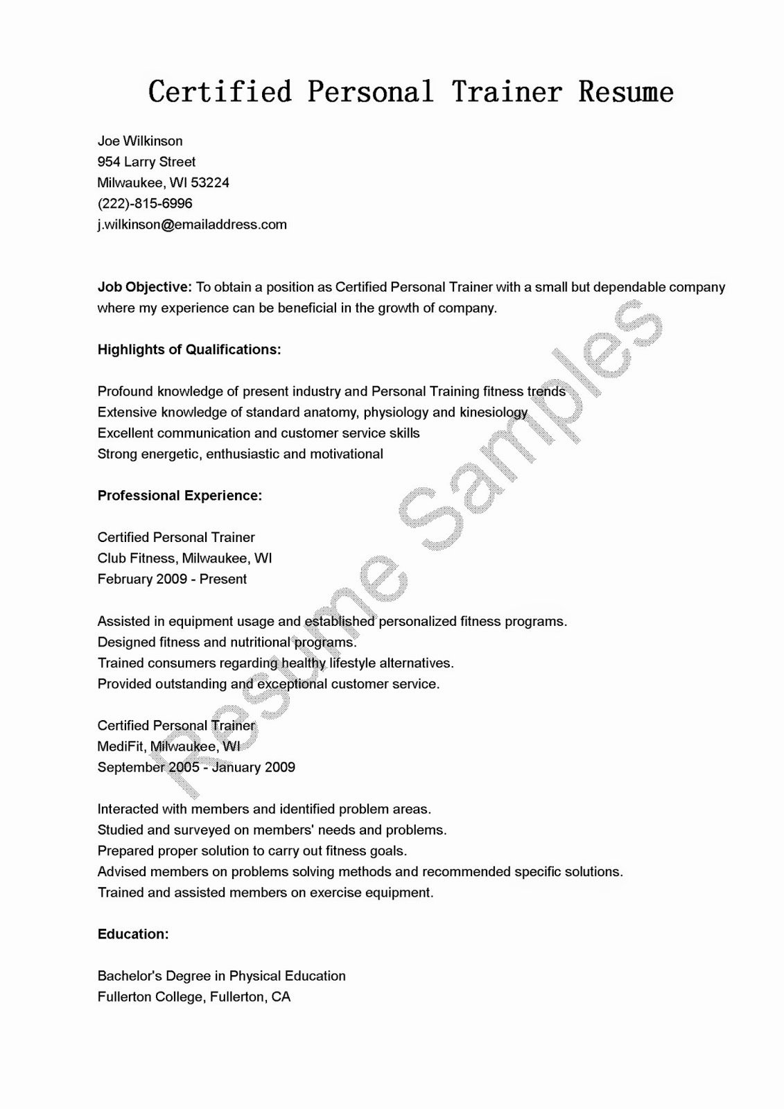 Personal Trainer Resume Template Elegant Resume Samples Certified Personal Trainer Resume Sample