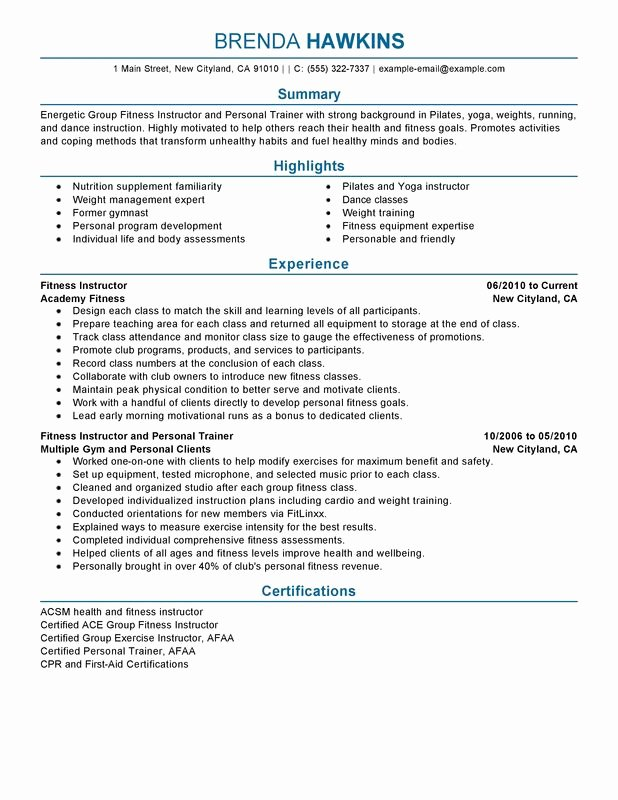 Personal Trainer Resume Template Inspirational Unfor Table Fitness and Personal Trainer Resume Examples
