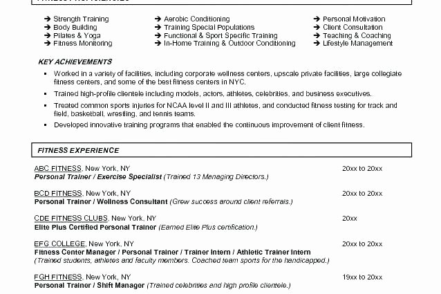 Personal Trainer Resume Template Lovely Certified Personal Trainer Resume Physical Trainer