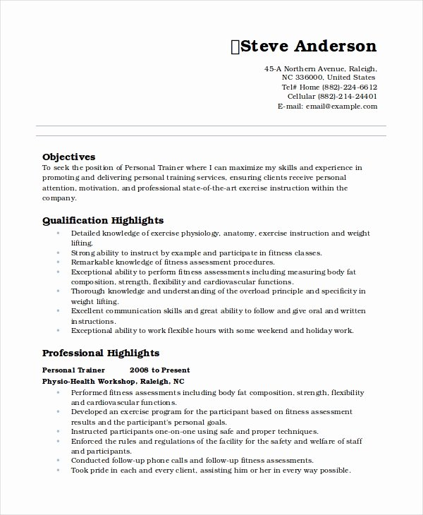 Personal Trainer Resume Template Luxury Personal Resume Template 6 Free Word Pdf Document