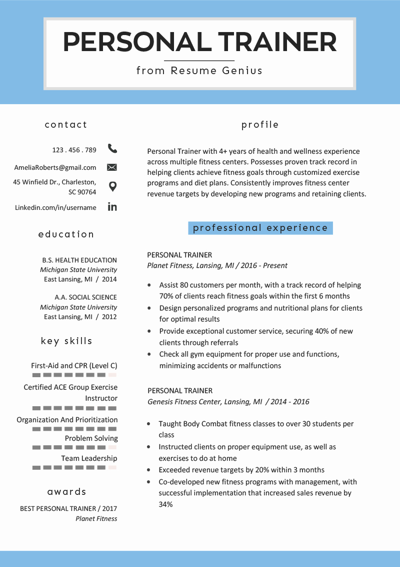 Personal Trainer Resume Template New Chronological Resume Samples & Writing Guide