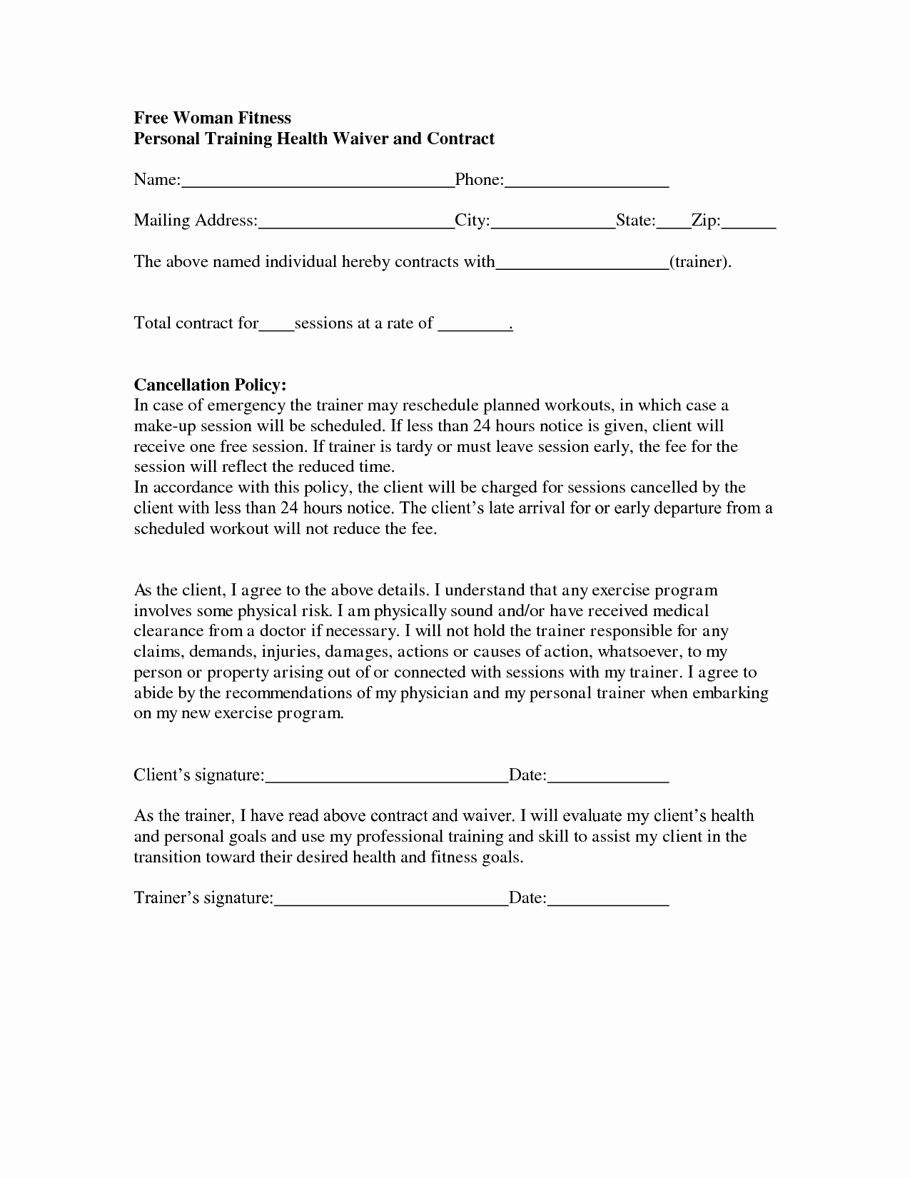 Personal Training Agreement Template Best Of Personal Training Contract Template Free Printable Documents