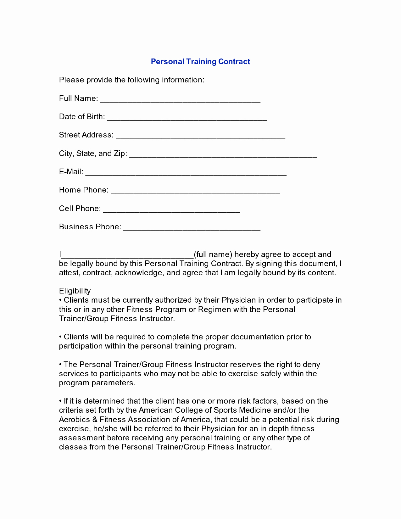 Personal Training Agreement Template Lovely 10 Best Of Personal Contract Agreement Sample