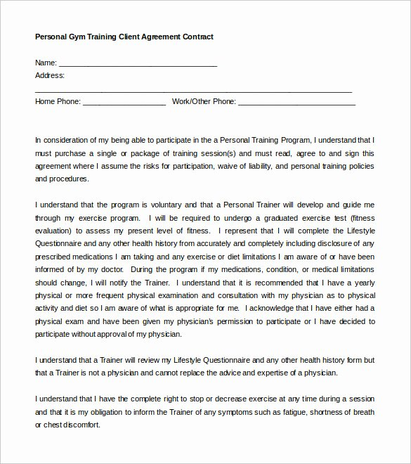 Personal Training Agreement Template Lovely 16 Gym Contract Templates Word Docs Pages