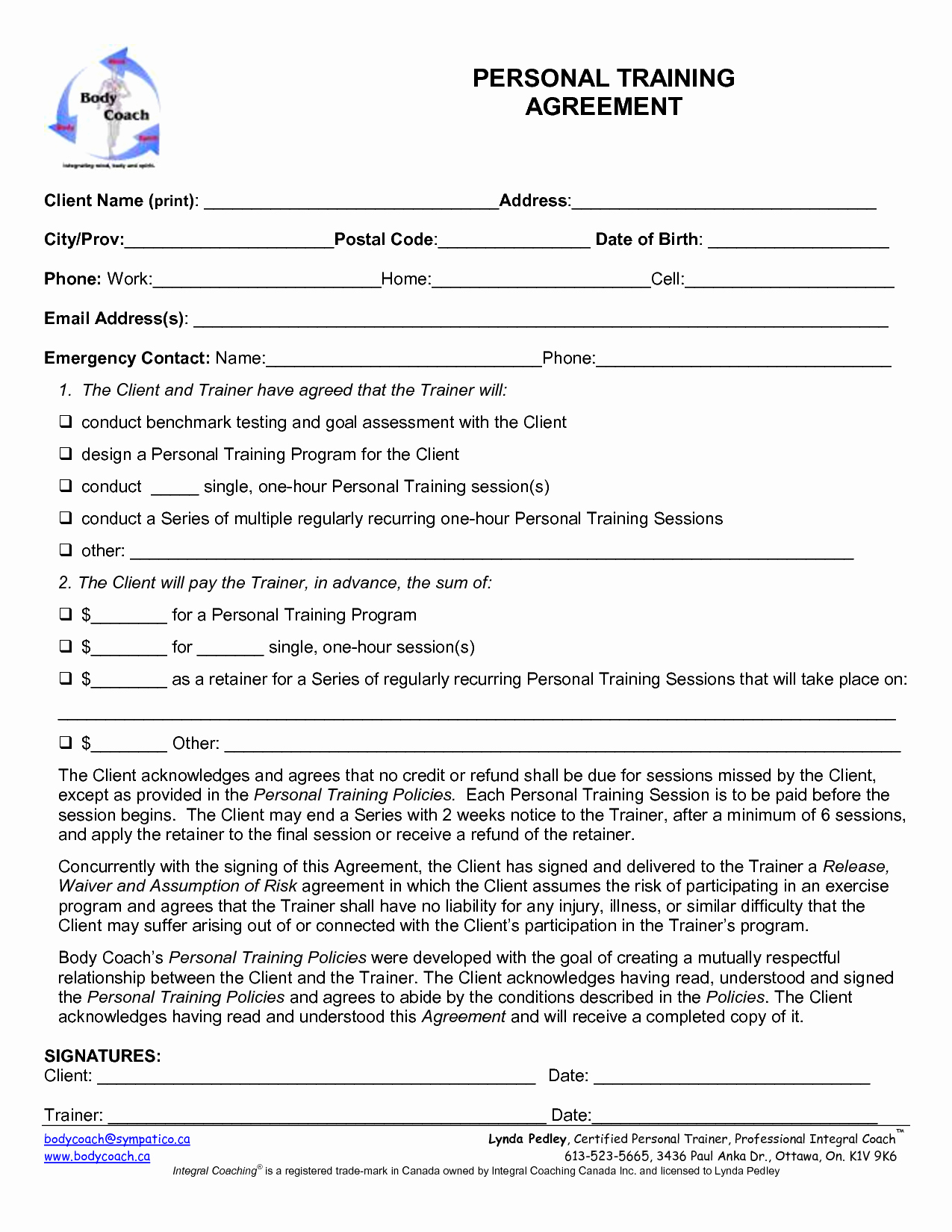 Personal Training Agreement Template Lovely Personal Training Contract Template Free Printable Documents