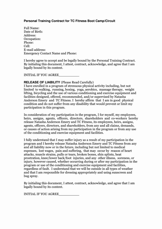 Personal Training Agreement Template Lovely top 6 Personal Training Contract Templates Free to