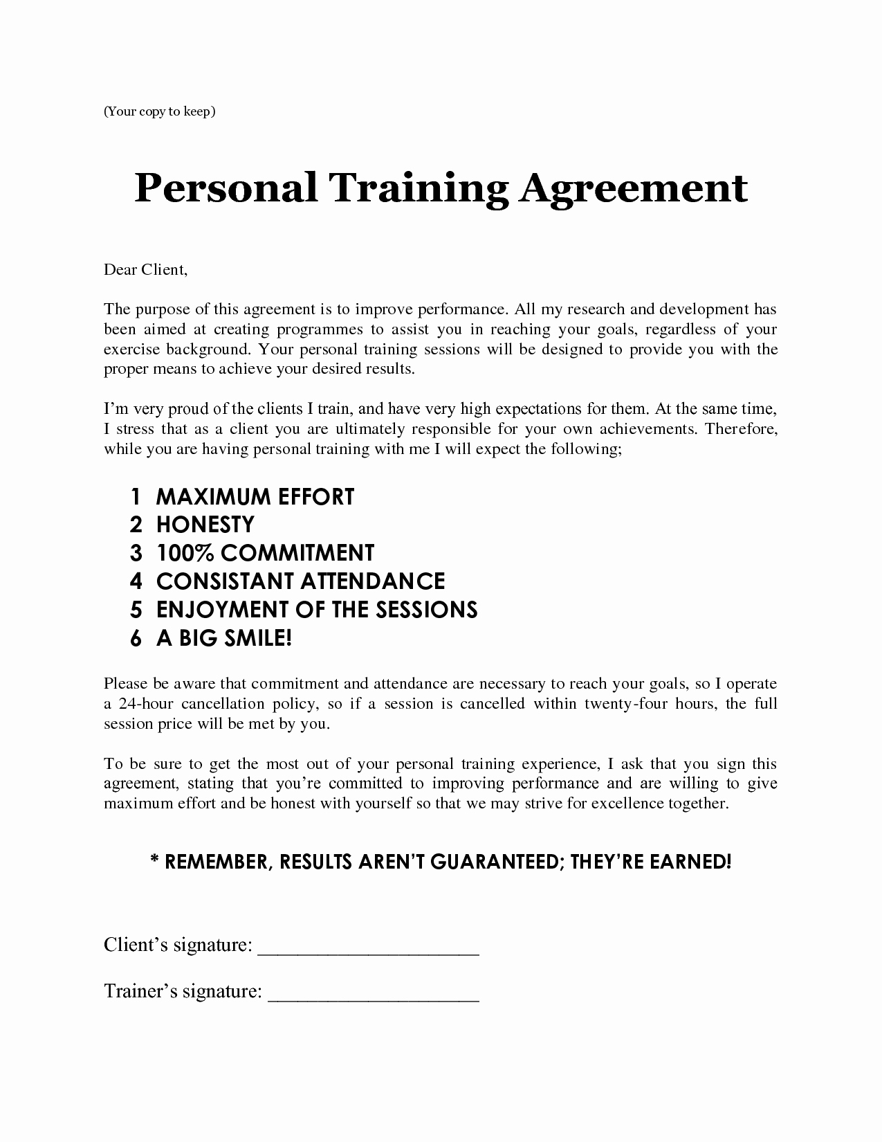 Personal Training Agreement Template Luxury Personal Training Contract Free Printable Documents