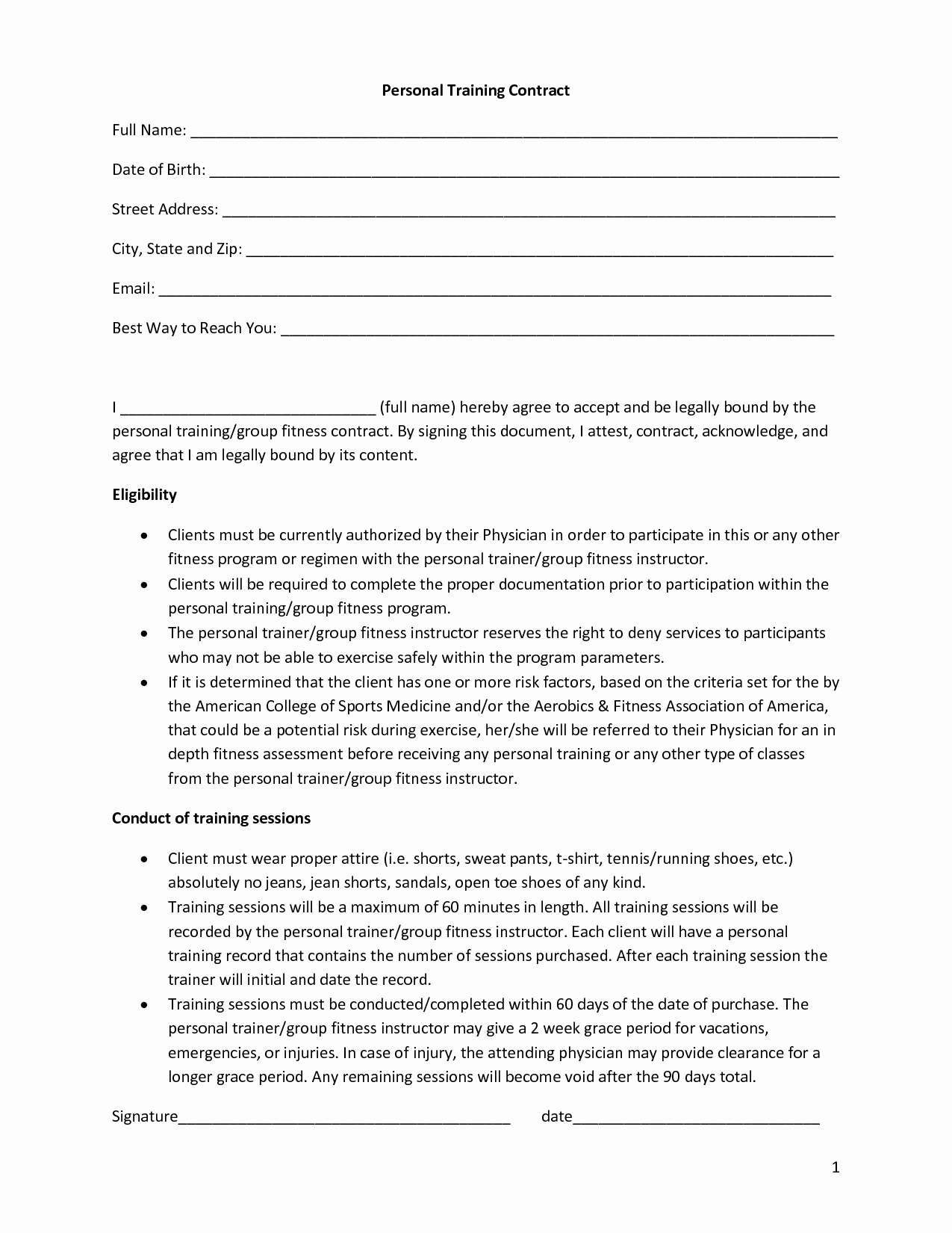 Personal Training Agreement Template New Personal Training Contract Template Free Printable Documents